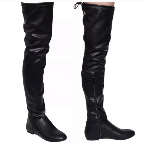 7e1b789c1a62 Boutique Shoes | Flat Black Leather Knee Boots New | Poshmark